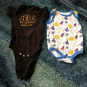 6 months Star Wars and space onesies
